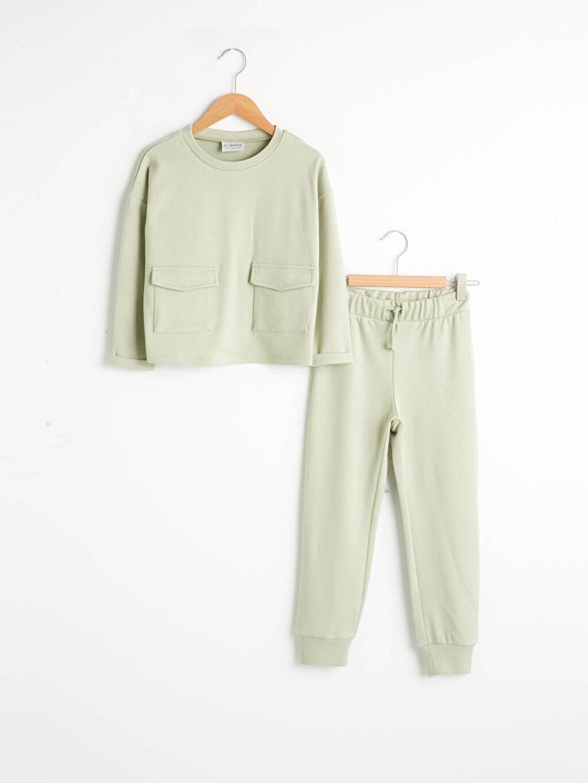 Yeşil Kız Çocuk Sweatshirt Ve Eşofman Altı 0WGV01Z4 LC Waikiki