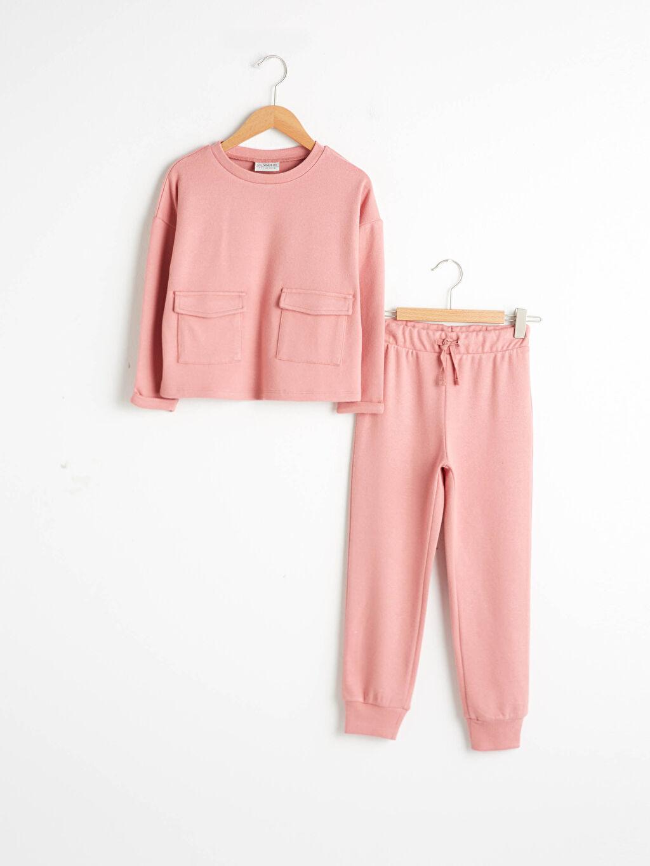 Pembe Kız Çocuk Sweatshirt Ve Eşofman Altı 0WGV01Z4 LC Waikiki