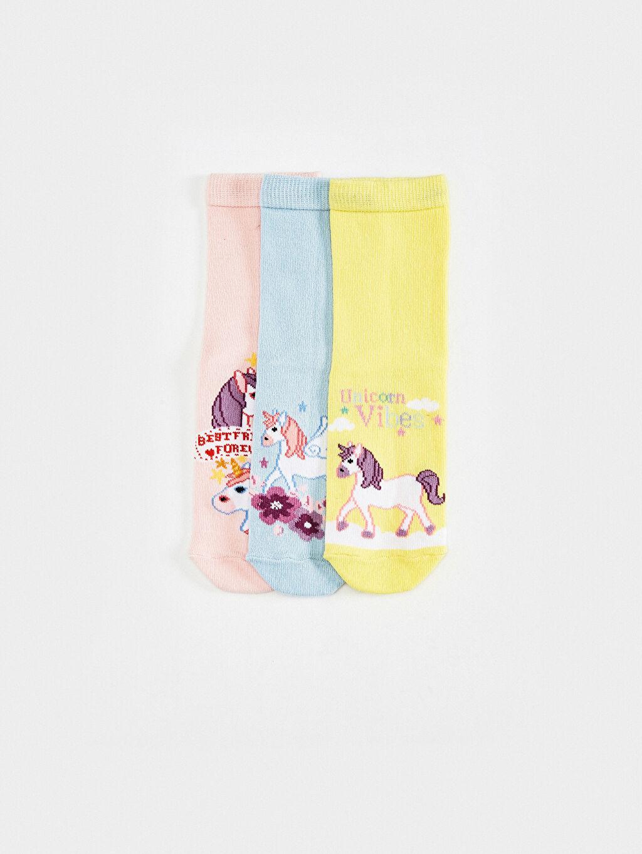 %67 Pamuk %31 Poliamid %2 Elastan Soket Çorap Emoji Yüksek Pamuk İçerir Kız Çocuk Soket Çorap 3'Lü