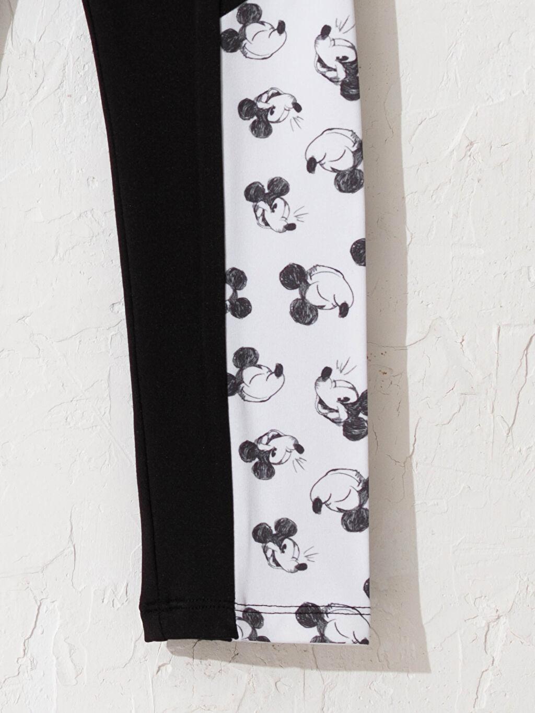 Siyah Kız Çocuk Mickey Mouse Baskılı Tayt