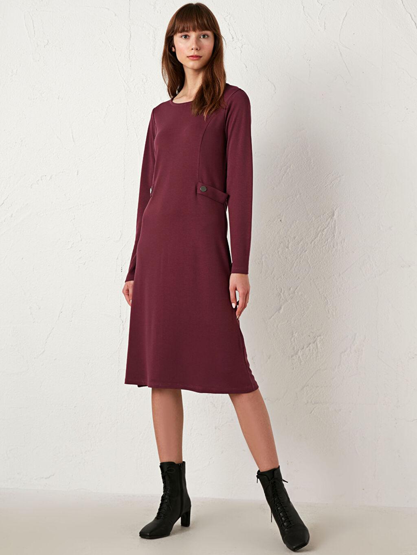 %25 Polyester %73 Viskoz %2 Elastan Elbise Düz Uzun Kollu Ponte Elbise