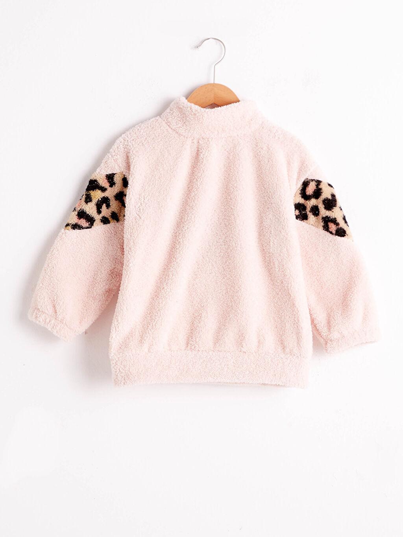 %100 Polyester Pelüş Desenli Sweatshirt Kalın Uzun Kol Dik Yaka Kız Çocuk Pelüş Sweatshirt