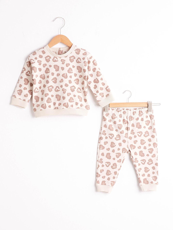 Ekru Kız Bebek Desenli Sweatshirt Ve Pantolon 0WHI33Z1 LC Waikiki