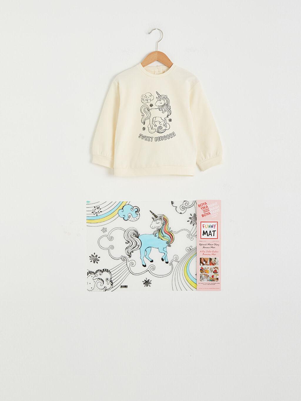 LC Waikiki Ekru Kız Bebek Funny Mat Ve Kalem Hediyeli Sweatshirt