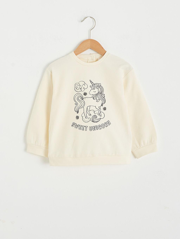 Ekru Kız Bebek Funny Mat Ve Kalem Hediyeli Sweatshirt