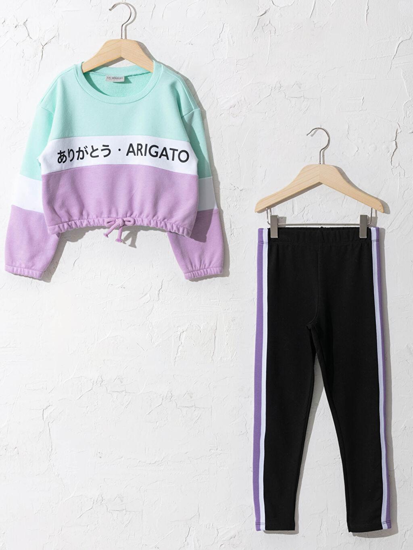 Turkuaz Kız Çocuk Sweatshirt Ve Tayt 0WHU10Z4 LC Waikiki