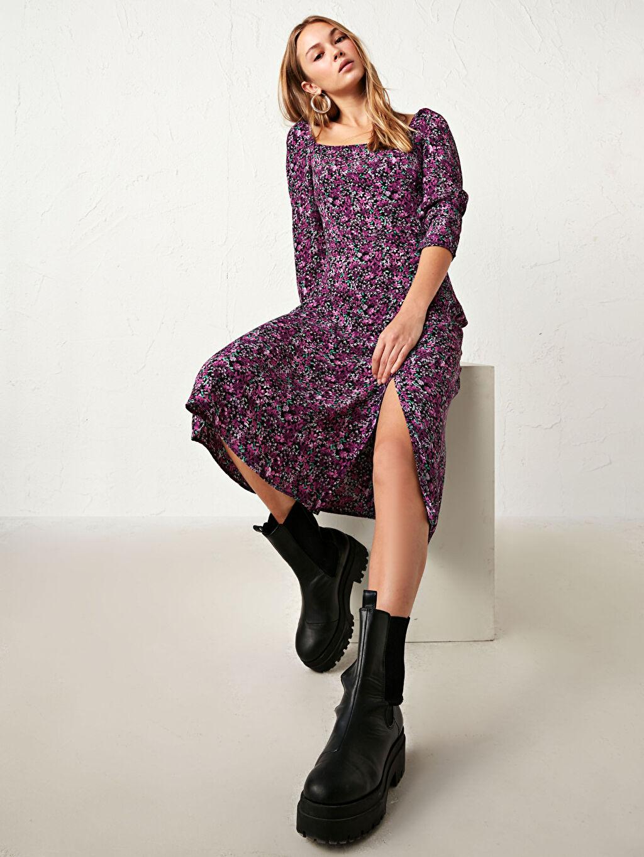 %100 Viskoz Elbise Desenli İnce U Yaka Uzun Kol Midi Çiçek Desenli Midi Elbise