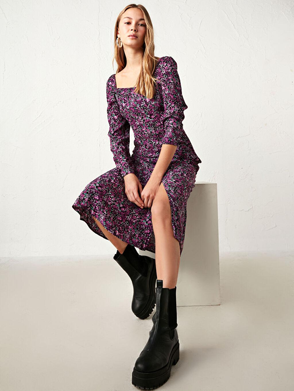 Kadın Çiçek Desenli Midi Elbise