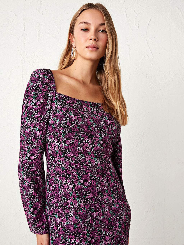 %100 Viskoz Çiçek Desenli Midi Elbise