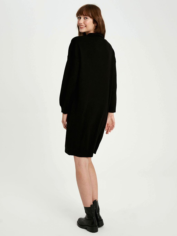 Kadın V Yaka Akrilik Triko Elbise