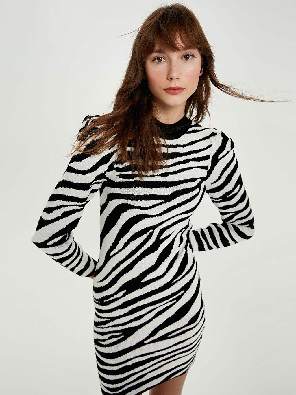 %100 Akrilik Bisiklet Yaka Uzun Kol Elbise Desenli Zebra Desenli Triko Elbise