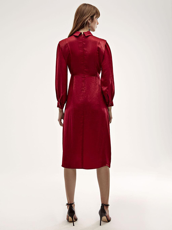Bordo Dik Yaka İşıltılı Uzun Saten Elbise