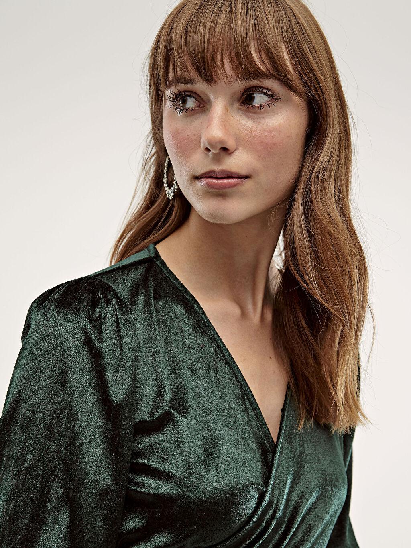 %100 Polyester Elbise Kalın Kısa Elbise 3/4 Boy Dokulu Kumaştan V Yaka Elbise