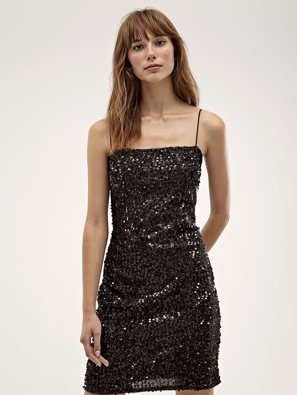 LC Waikiki Siyah Desenli İşıltılı Elbise