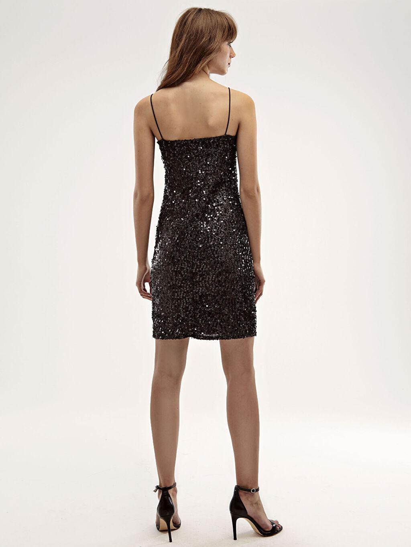 0WID98Z8 Desenli İşıltılı Elbise