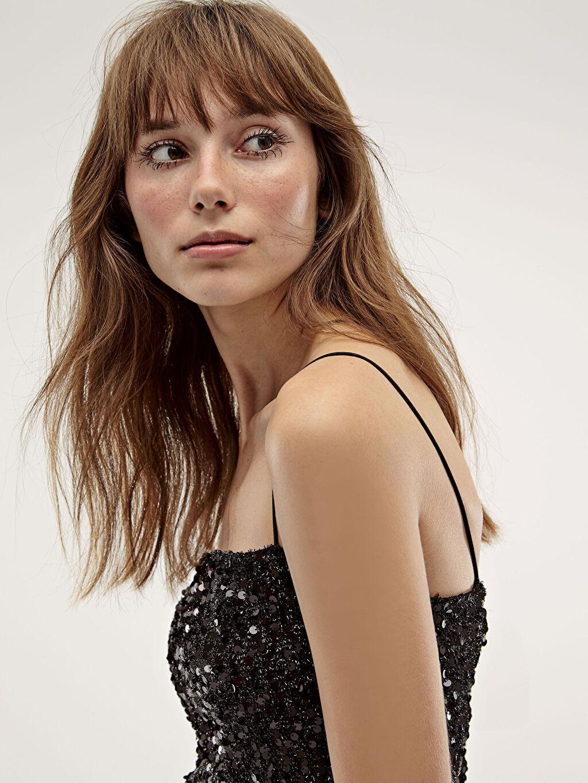 %100 Polyester %100 Polyester Elbise Düz Desenli İşıltılı Elbise