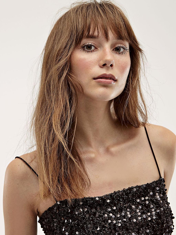 Kadın Desenli İşıltılı Elbise