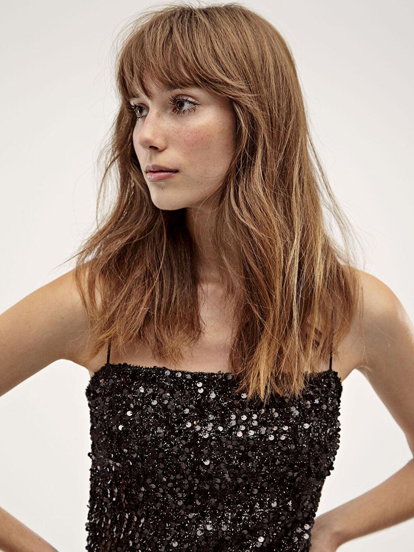 %100 Polyester Desenli İşıltılı Elbise
