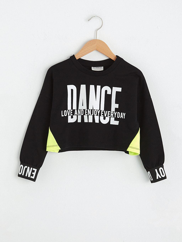 Siyah Kız Çocuk Baskılı Sweatshirt 0WIG07Z4 LC Waikiki