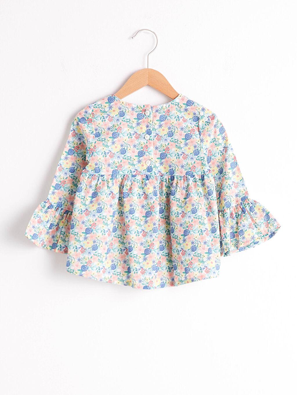 %100 Pamuk %100 Pamuk Baskılı Bisiklet Yaka Bluz Uzun Kol Kız Bebek Desenli Bluz