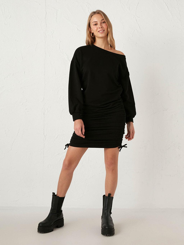 Siyah Quzu Yanları Büzgülü Elbise 0WIP42Z8 LC Waikiki