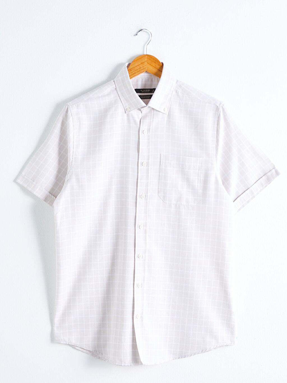 LC Waikiki Bej Regular Fit Kısa Kollu Poplin Gömlek