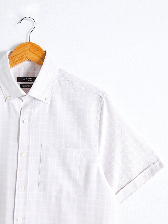 Bej Regular Fit Kısa Kollu Poplin Gömlek