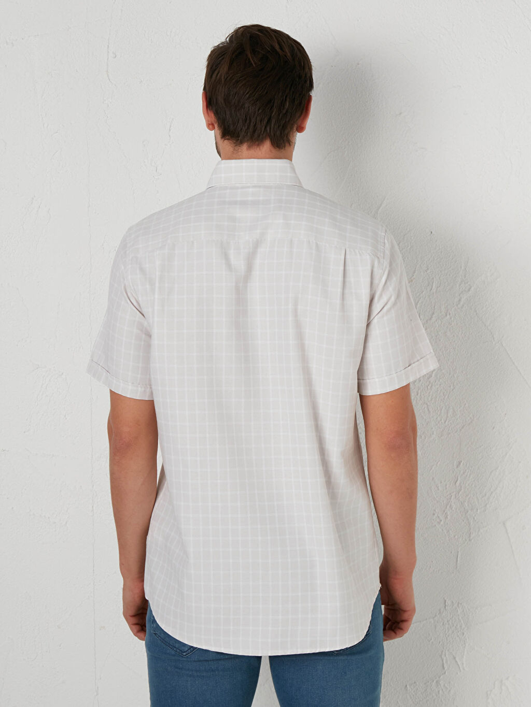 %59 Pamuk %41 Polyester Regular Fit Kısa Kollu Poplin Gömlek