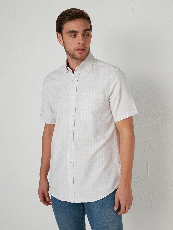 %59 Pamuk %41 Polyester Gömlek Standart İnce Kısa Kol Regular Fit Kısa Kollu Poplin Gömlek