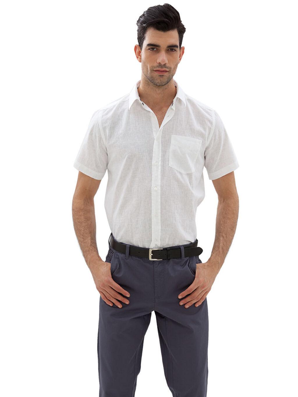 Beyaz Beyaz Düz Normal Kısa Kollu Gömlek 3Y3502Z8 LC Waikiki