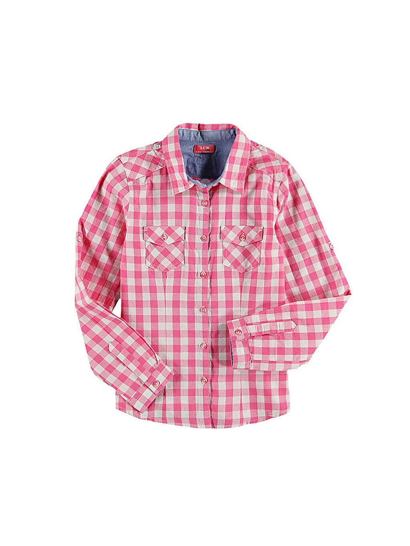 Pembe Kareli Uzun Kollu Gömlek