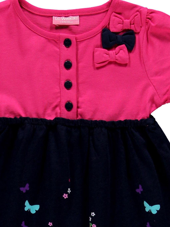 Kız Çocuk Fuşya Diz Üstü Düz Elbise