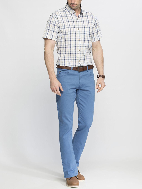 Erkek İndigo Normal Bel Dar Pilesiz Pantolon