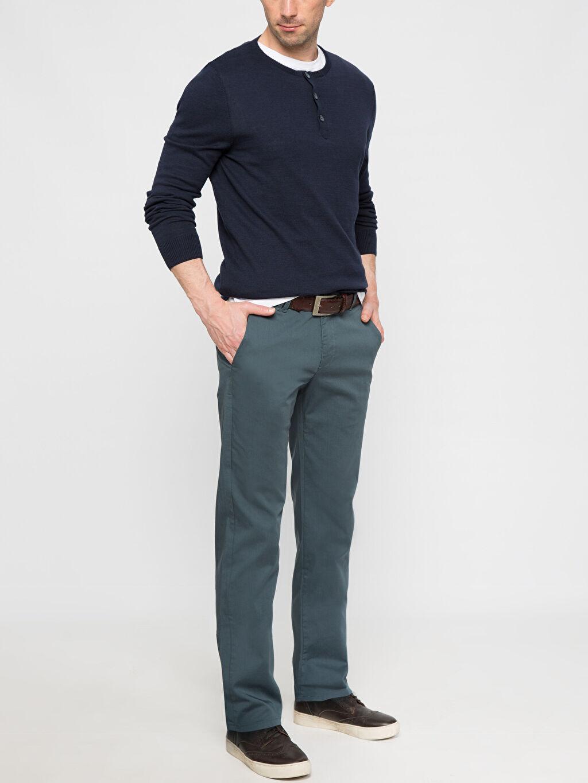 Erkek Petrol Normal Bel Dar Pantolon