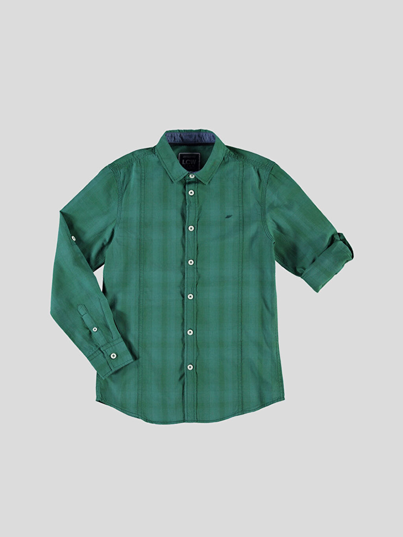Yeşil Yeşil Kareli Dar Uzun Kollu Gömlek 6Y0910Z6 LC Waikiki