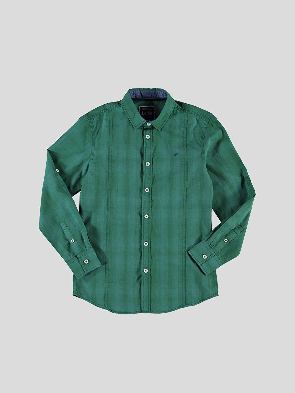 %100 Pamuk Uzun Kol Gömlek Ekose Dar Yeşil Kareli Dar Uzun Kollu Gömlek