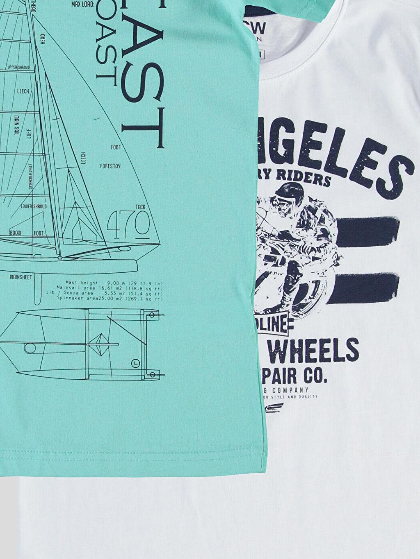 %100 Pamuk Baskılı Normal Tişört Bisiklet Yaka Beyaz Baskılı Normal Bisiklet Yaka Tişört 2'li
