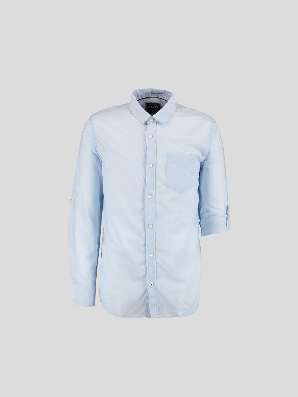 Mavi Mavi Düz Dar Uzun Kollu LCW Young Gömlek 6Y6165Z6 LC Waikiki