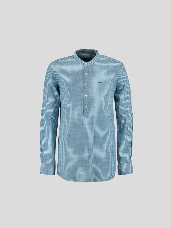 %100 Pamuk Gömlek Uzun Kol Mavi Uzun Kollu Gömlek