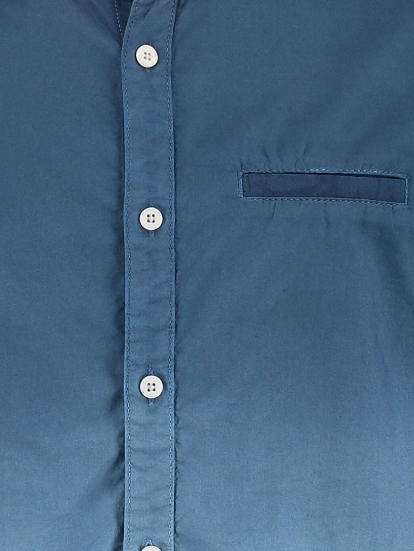 %100 Pamuk Düz Gömlek Dar Kısa Kol Şambre Gri Düz Dar Kısa Kollu LCW Young Gömlek