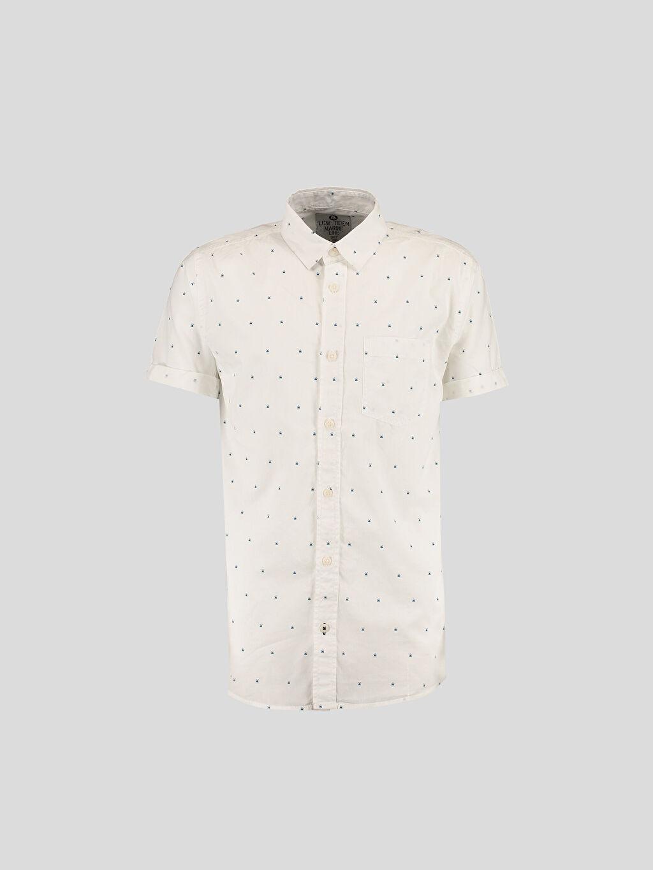 Beyaz Beyaz Dar Kısa Kollu LCW Young Gömlek 6Y8807Z6 LC Waikiki