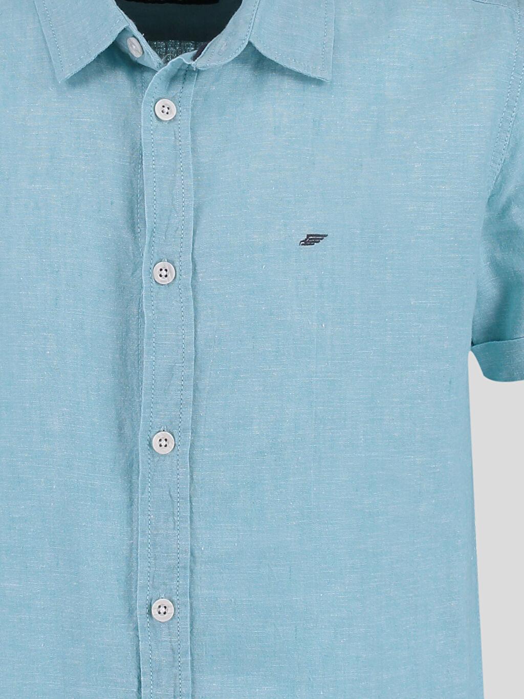 %48 Pamuk %52 Keten Kısa Kol Düz Gömlek Yeşil Düz Kısa Kollu Gömlek