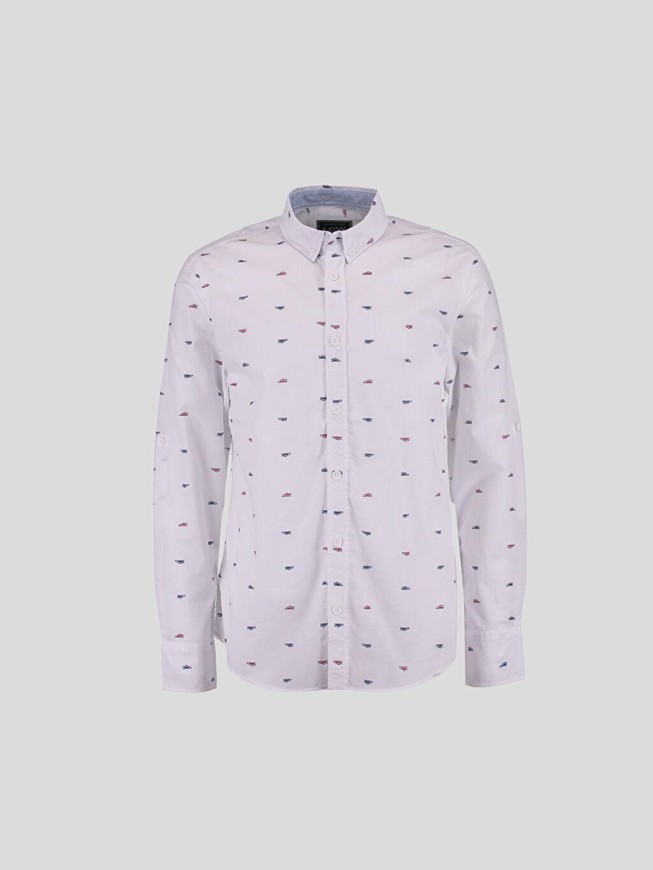 %100 Pamuk Dar Uzun Kol Gömlek Beyaz Dar Uzun Kollu LCW Young Gömlek