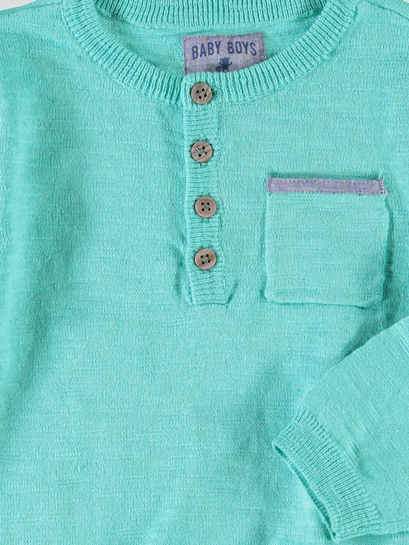 Erkek Bebek Yeşil Düz İnce Kazak