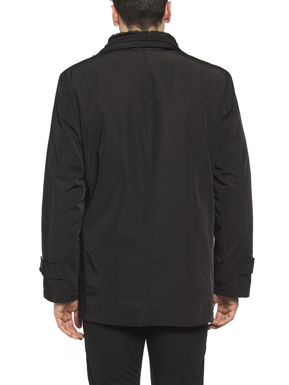 %100 Polyester Siyah Kalın Kaban