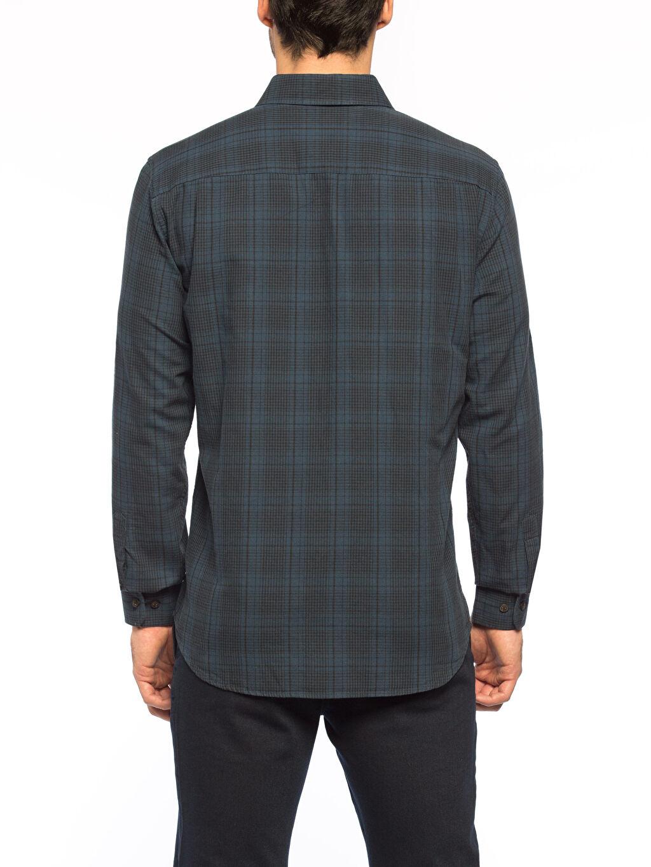Ekose Standart Uzun Kol Gömlek Gömlek Yaka Petrol Kareli Normal Uzun Kollu Gömlek