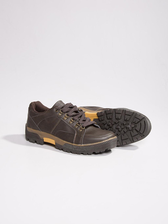 Diğer malzeme (poliüretan) Tekstil malzemeleri Trekking Kahverengi Bağcıklı Ayakkabı