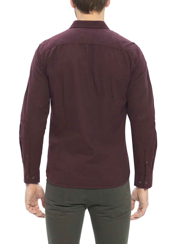 %100 Pamuk Düz Ekstra Dar Gömlek Gömlek Yaka Oxford Uzun Kol Bordo Düz Uzun Kollu Gömlek