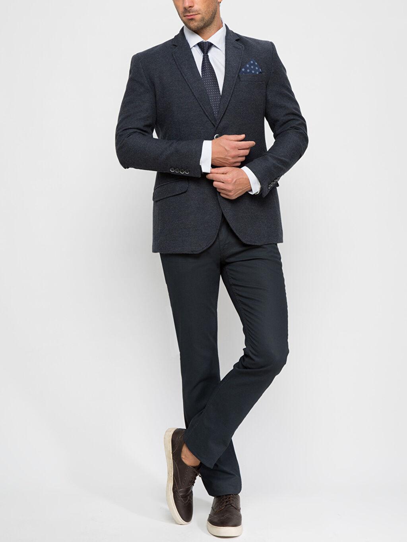 Erkek İndigo Dar Ceket