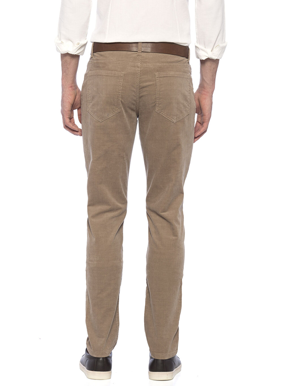 %98 Pamuk %2 Elastan Kadife Normal Bel Dar Beş Cep Pantolon Aksesuarsız Düz Bej Normal Bel Dar Pilesiz Pantolon